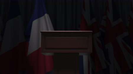 podyum : Flags of France and the UK and speaker podium tribune. Political event or negotiations related conceptual 3D animation