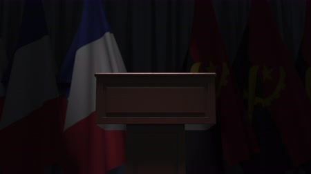 podyum : Flags of France and Angola and speaker podium tribune. Political event or negotiations related conceptual 3D animation