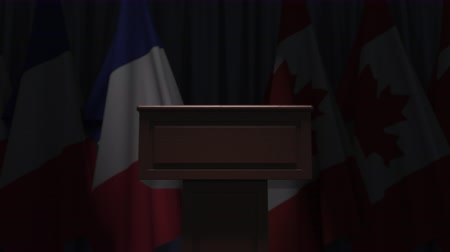 canadense : Flags of France and Canada and speaker podium tribune. Political event or negotiations related conceptual 3D animation