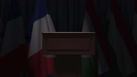 podyum : Flags of France and Hungary and speaker podium tribune. Political event or negotiations related conceptual 3D animation Stok Video
