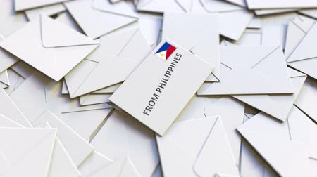 переписка : Letter with From Philippines stamp among other Letters. International mail related conceptual 3D animation