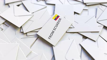 переписка : Letter with From Ecuador text on pile of other Letters. International mail related conceptual 3D animation