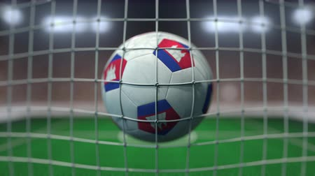 kamboçyalı : Football with flags of Cambodia hits goal net. Slow motion 3D animation