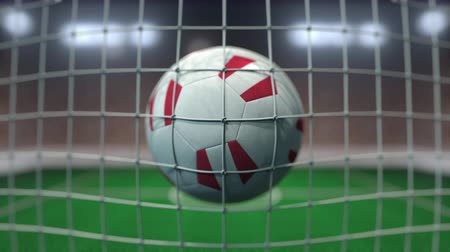 перуанский : Football with flags of Peru in net against blurred stadium. Conceptual 3D animation Стоковые видеозаписи