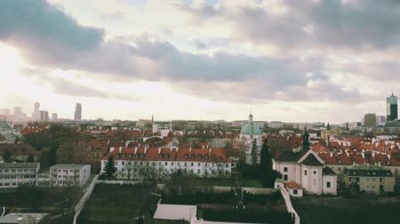 kazimierz : Aerial view of St. Kazimierz Church and Church of St. Benon within Warsaw townscape, Poland Stock Footage