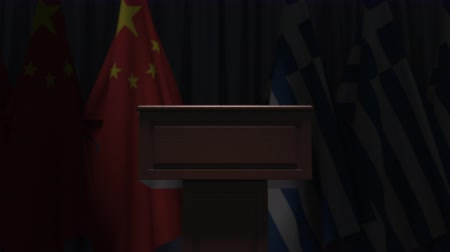 greece flag : Flags of China and Greece and speaker podium tribune. Political event or negotiations related conceptual 3D animation