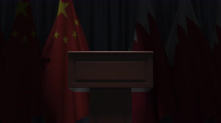 podyum : Flags of China and Bahrain and speaker podium tribune. Political event or negotiations related conceptual 3D animation