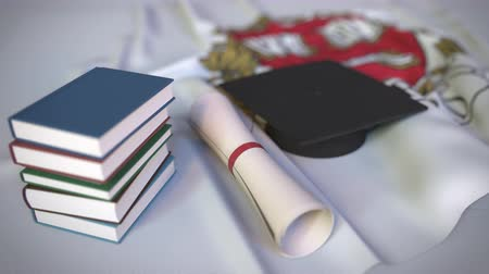 mortarboard : Graduation cap and diploma on the flag with coat of arms of Harvard University. Editorial education related 3D animation