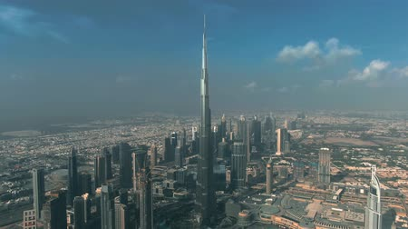 khalifa : DUBAI, UNITED ARAB EMIRATES - DECEMBER 30, 2019. Aerial shot of famous Burj Khalifa skyscraper, the tallest building in the world