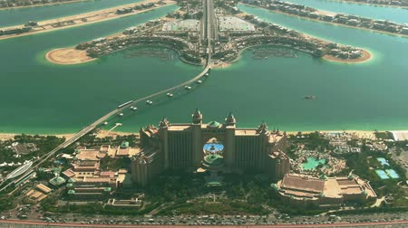 water rail : Aerial view from the Palm Jumeirah island towards city of Dubai, UAE