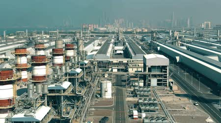 hangar : Aerial view of a modern power plant and big industrial facility. Dubai, UAE
