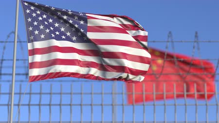elválasztott : Waving flags of the USA and China separated by barbed wire fence. Conflict related loopable conceptual 3D animation