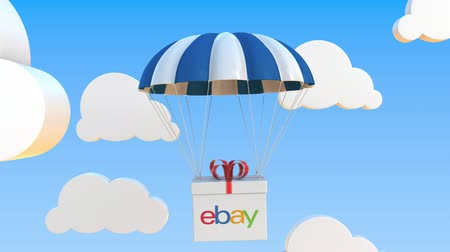 ebay : EBAY logo on moving box moves under parachute. Editorial loopable 3D animation Stock Footage