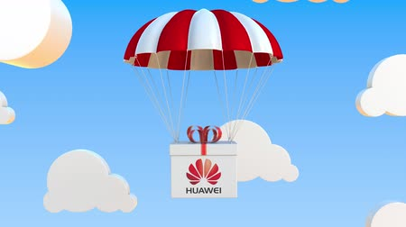 pára quedas : HUAWEI logo on moving box moves under parachute. Editorial loopable 3D animation Vídeos