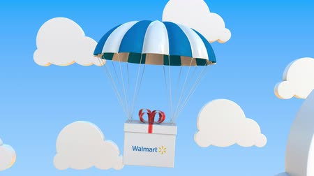 walmart : WALMART logo on moving box moves under parachute. Editorial loopable 3D animation Stock Footage