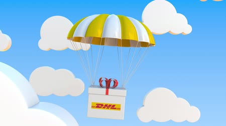 padák : DHL logo on moving box moves under parachute. Editorial loopable 3D animation