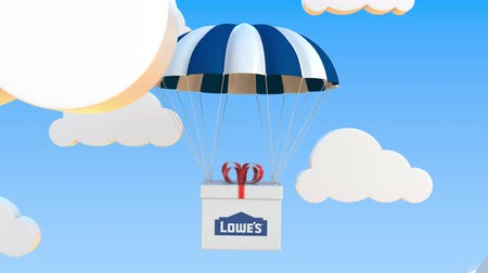 パック : LOWES logo on moving box moves under parachute. Editorial loopable 3D animation