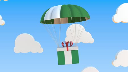 nigeria flag : Box with national flag of Nigeria falls with a parachute. Loopable conceptual 3D animation Stock Footage