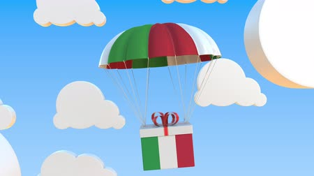 padák : Carton with flag of Italy falls with a parachute. Loopable conceptual 3D animation Dostupné videozáznamy