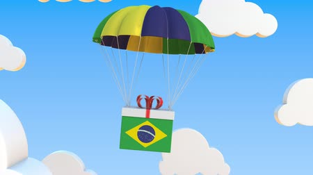 brazilian : Box with national flag of Brazil falls with a parachute. Loopable conceptual 3D animation