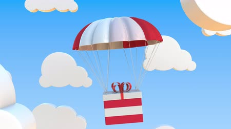 padák : Box with national flag of Austria falls with a parachute. Loopable conceptual 3D animation Dostupné videozáznamy