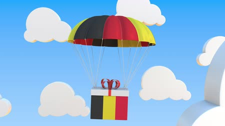 padák : Box with national flag of Belgium falls with a parachute. Loopable conceptual 3D animation