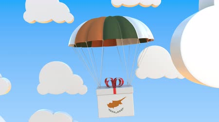 kıbrıs : Box with national flag of Cyprus falls with a parachute. Loopable conceptual 3D animation