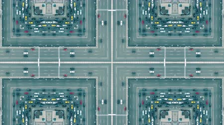 congested : Aerial top down view of a city road traffic jam, artistic kaleidoscopic effect