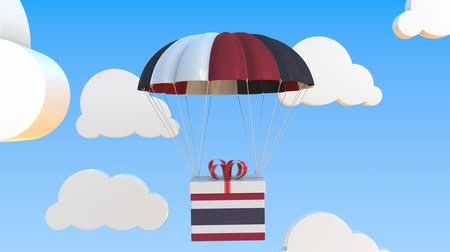 padák : Carton with flag of Thailand falls with a parachute. Loopable conceptual 3D animation