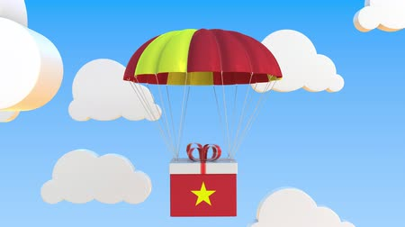 bandera vietnam : Box with national flag of Vietnam falls with a parachute. Loopable conceptual 3D animation