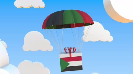 padák : Carton with flag of Sudan falls with a parachute. Loopable conceptual 3D animation Dostupné videozáznamy