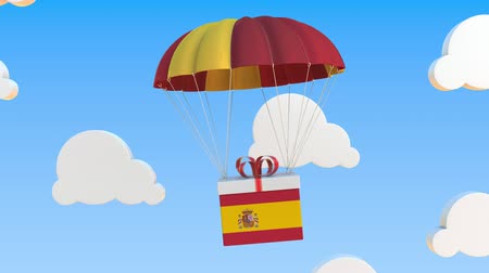 padák : Carton with flag of Spain falls with a parachute. Loopable conceptual 3D animation Dostupné videozáznamy