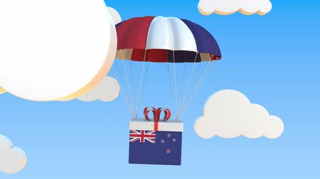 nouvelle zélande : Box with national flag of New Zealand falls with a parachute. Loopable conceptual 3D animation