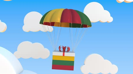 flag of lithuania : Carton with flag of Lithuania falls with a parachute. Loopable conceptual 3D animation