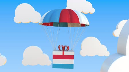 luxemburg : Carton with flag of Luxembourg falls with a parachute. Loopable conceptual 3D animation