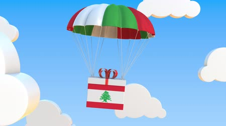 padák : Carton with flag of Lebanon falls with a parachute. Loopable conceptual 3D animation Dostupné videozáznamy