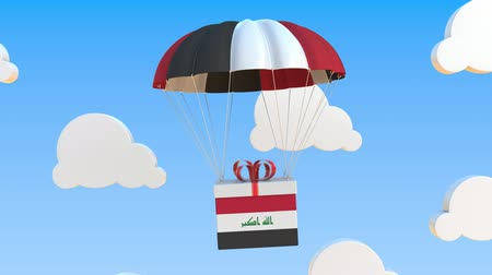 padák : Carton with flag of Iraq falls with a parachute. Loopable conceptual 3D animation Dostupné videozáznamy