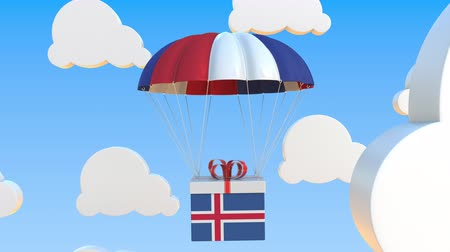 padák : Carton with flag of Iceland falls with a parachute. Loopable conceptual 3D animation