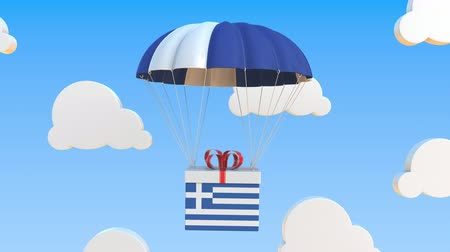 greek flag : Box with national flag of Greece falls with a parachute. Loopable conceptual 3D animation