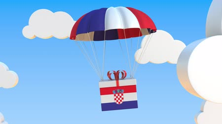 hırvat : Box with national flag of Croatia falls with a parachute. Loopable conceptual 3D animation