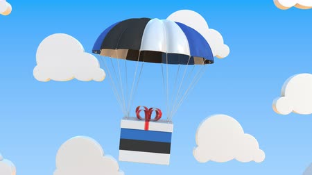 Észtország : Box with national flag of Estonia falls with a parachute. Loopable conceptual 3D animation Stock mozgókép