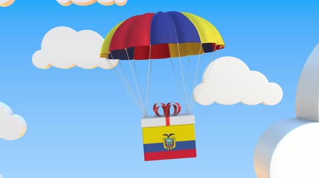 equador : Box with national flag of Ecuador falls with a parachute. Loopable conceptual 3D animation