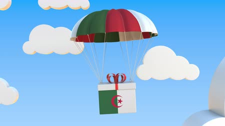 algeria : Box with national flag of Algeria falls with a parachute. Loopable conceptual 3D animation