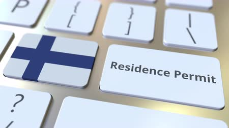 göçmen : Residence Permit text and flag of Finland on the buttons on the computer keyboard. Immigration related conceptual 3D animation