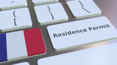 reside : Residence Permit text and flag of France on the buttons on the computer keyboard. Immigration related conceptual 3D animation Stock Footage