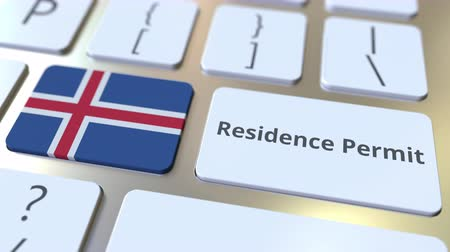 expat : Residence Permit text and flag of Iceland on the buttons on the computer keyboard. Immigration related conceptual 3D animation