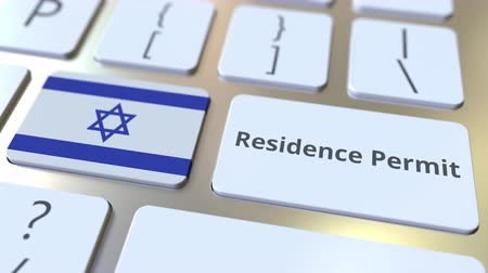 göçmen : Residence Permit text and flag of Israel on the buttons on the computer keyboard. Immigration related conceptual 3D animation