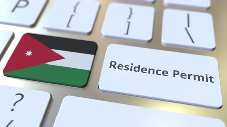 reside : Residence Permit text and flag of Jordan on the buttons on the computer keyboard. Immigration related conceptual 3D animation