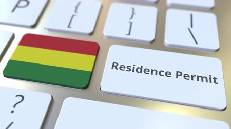 reside : Residence Permit text and flag of Bolivia on the buttons on the computer keyboard. Immigration related conceptual 3D animation