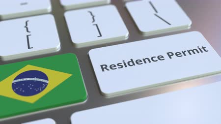 reside : Residence Permit text and flag of Brazil on the buttons on the computer keyboard. Immigration related conceptual 3D animation